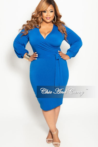 cdce0ecf00e New Plus Size Long Sleeve Faux Wrap BodyCon Dress with Attached Tie in –  Chic And Curvy