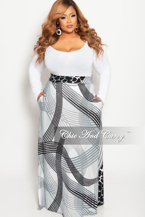 2a6199fb3451 Final Sale Plus Size Long Maxi Skirt in Grey Black and White Animal Stripe  Print