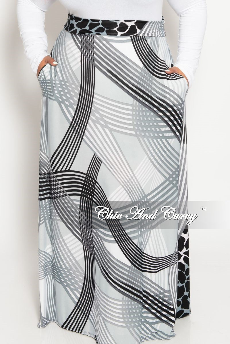 Final Sale Plus Size Long Maxi Skirt in Grey Black and White Animal Stripe Print