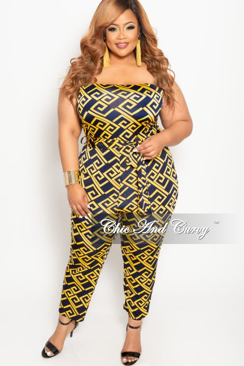 Final Sale Plus Size Strapless Jumpsuit with Attached Tie in Mustard and Navy Maze Print