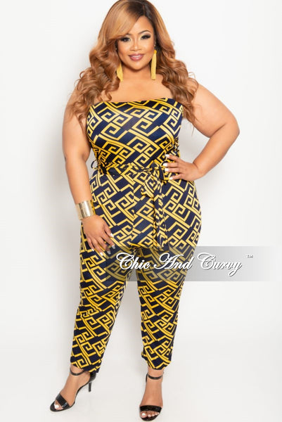 8924cec0f57 New Plus Size Strapless Jumpsuit with Attached Tie in Mustard and Navy –  Chic And Curvy