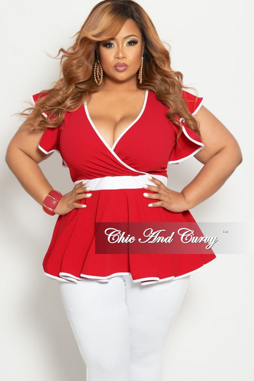 ba2cf652d16148 New Plus Size Faux Wrap Peplum Top with Flutter Sleeves in Red with White  Trim