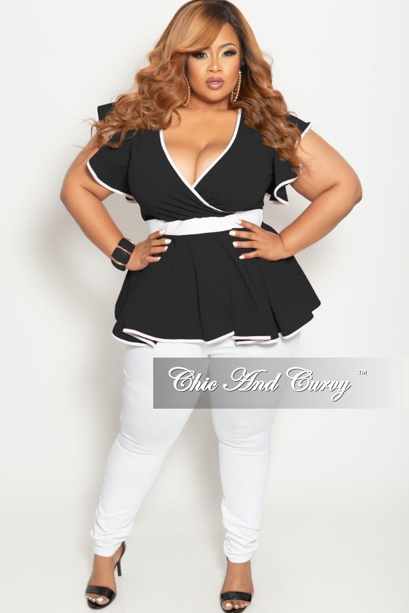 New Plus Size Faux Wrap Peplum Top with Flutter Sleeves in Black with White Trim