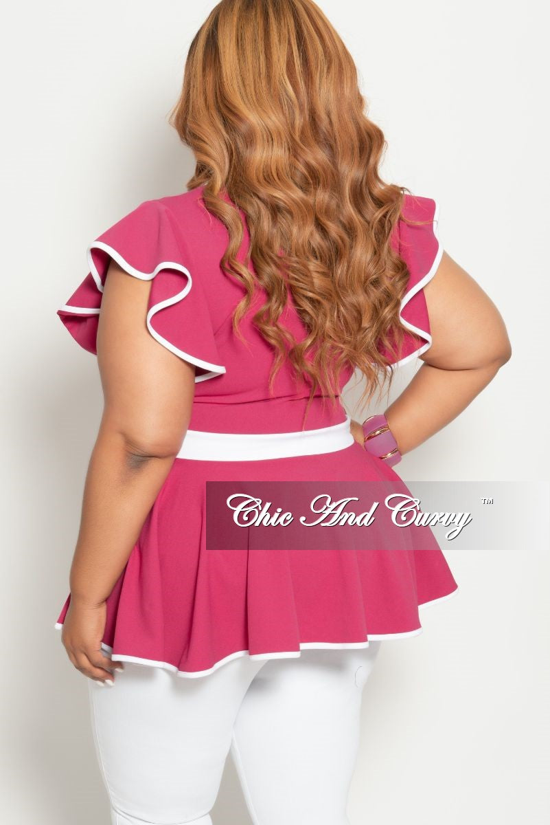 New Plus Size Faux Wrap Peplum Top with Flutter Sleeves in Hot Pink with White Trim