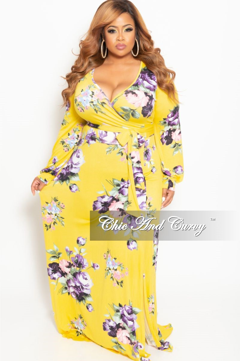 0dadce3d473 New Plus Size Long Sleeve Faux Wrap Dress in Yellow Floral Print ...