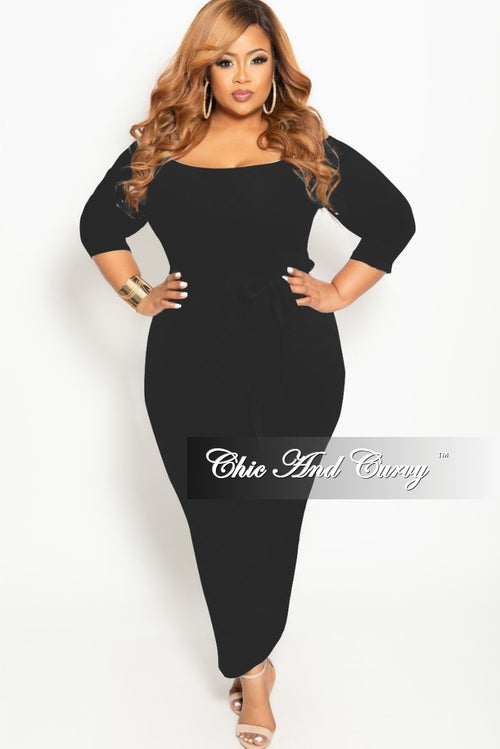 New Plus Size Off the Shoulder BodyCon Dress with Attached Tie in Black