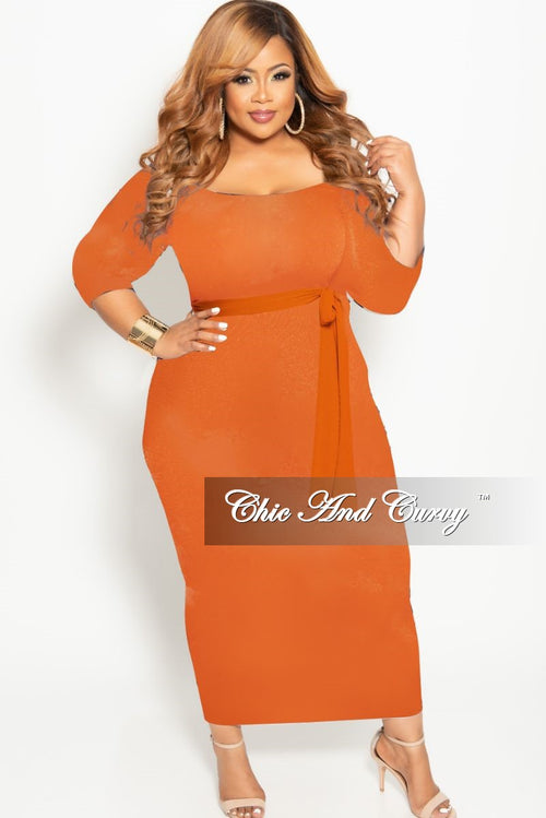 8a96ebd18282 New Plus Size Off the Shoulder BodyCon Dress with Attached Tie in Orange