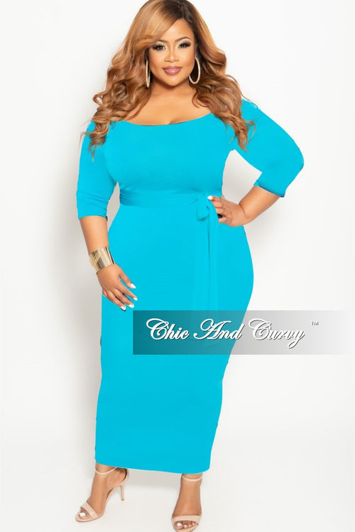 Final Sale Plus Size Off the Shoulder BodyCon Dress with Attached Tie in Aqua Blue