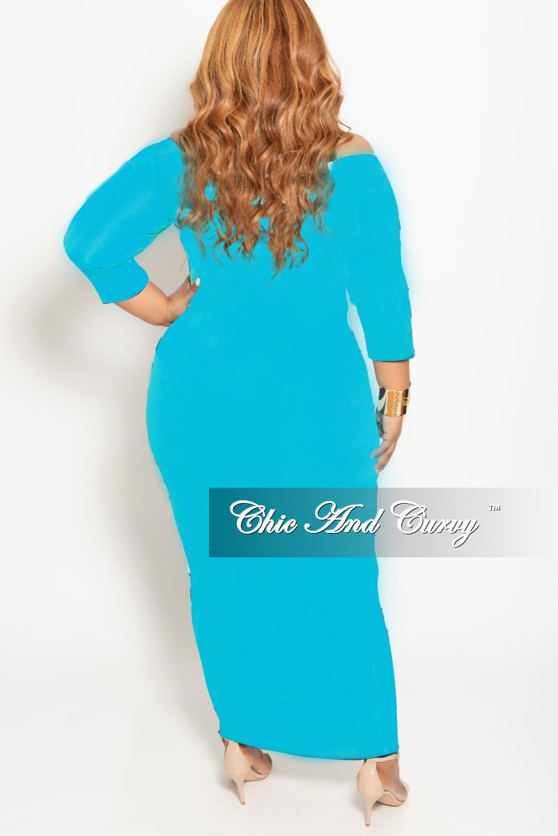 New Plus Size Off the Shoulder BodyCon Dress with Attached Tie in Aqua Blue