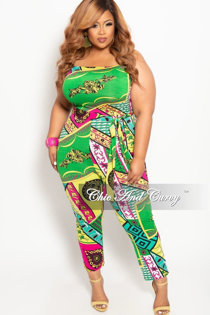 31cef54a6154 New Plus Size Strapless Jumpsuit with Attached Tie in Green Multi Colo –  Chic And Curvy