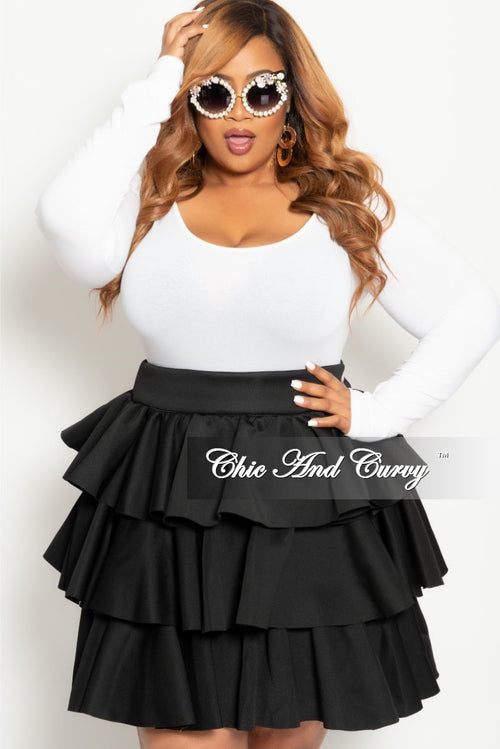Final Sale Plus Size Scuba/Neoprene Ruffle Skirt in Black