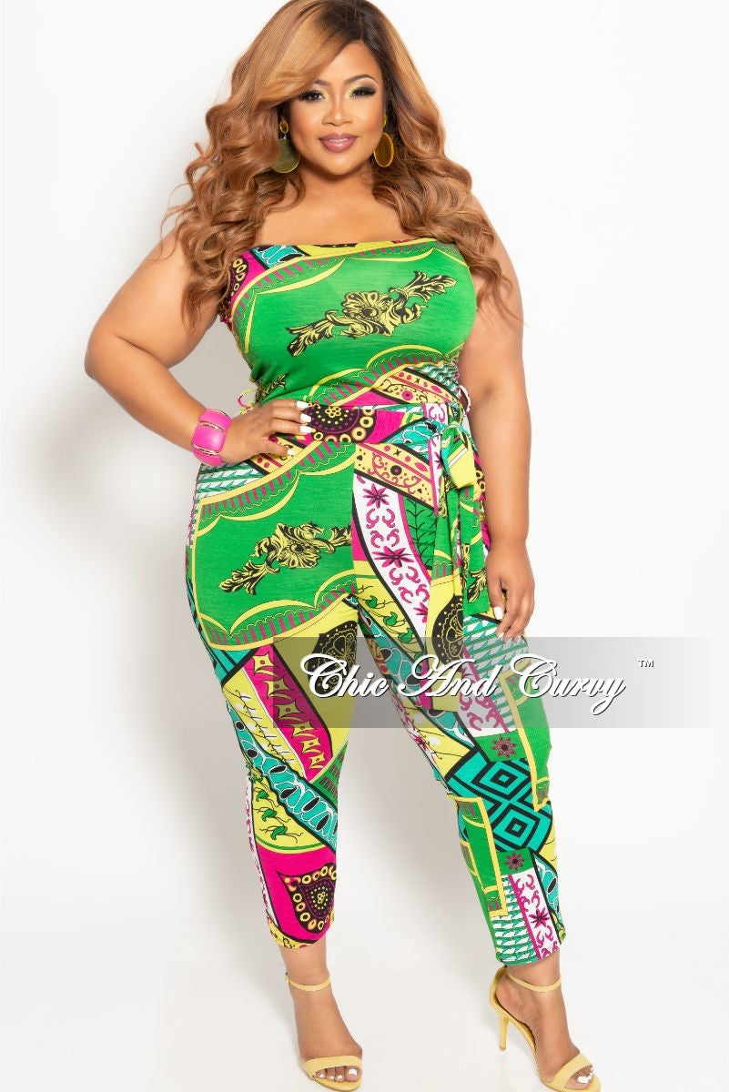 1ec9f1b6115 New Plus Size Strapless Jumpsuit with Attached Tie in Green Multi Color  Print