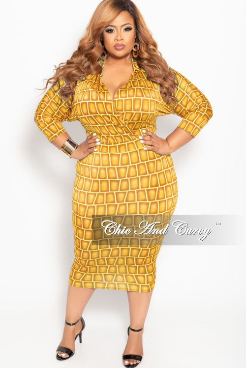 Final Sale Plus Size Collared Faux Wrap BodyCon Dress with 3/4 Sleeves in Dark Yellow Brick Print