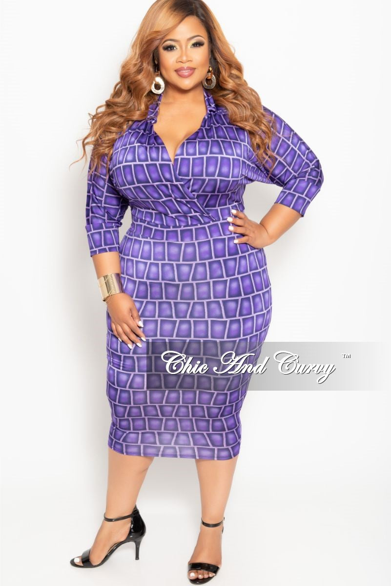 Final Sale Plus Size Collared Faux Wrap BodyCon Dress with 3/4 Sleeves in Purple Brick Print