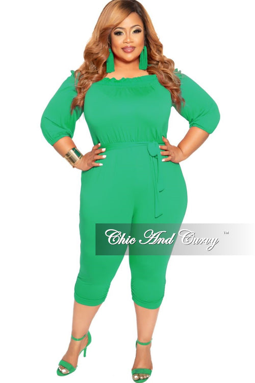 New Plus Size Off the Shoulder Jumpsuit in Green