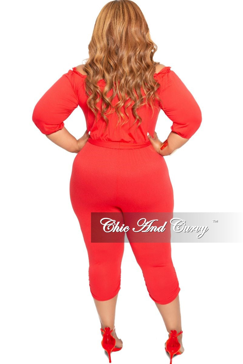 New Plus Size Off the Shoulder Jumpsuit in Dark Coral