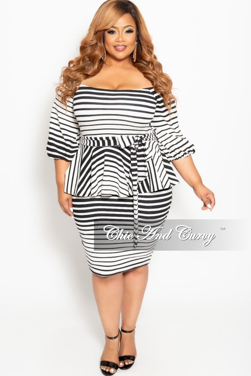 New Plus Size Peplum BodyCon Dress with Attached Tie in Black and ...