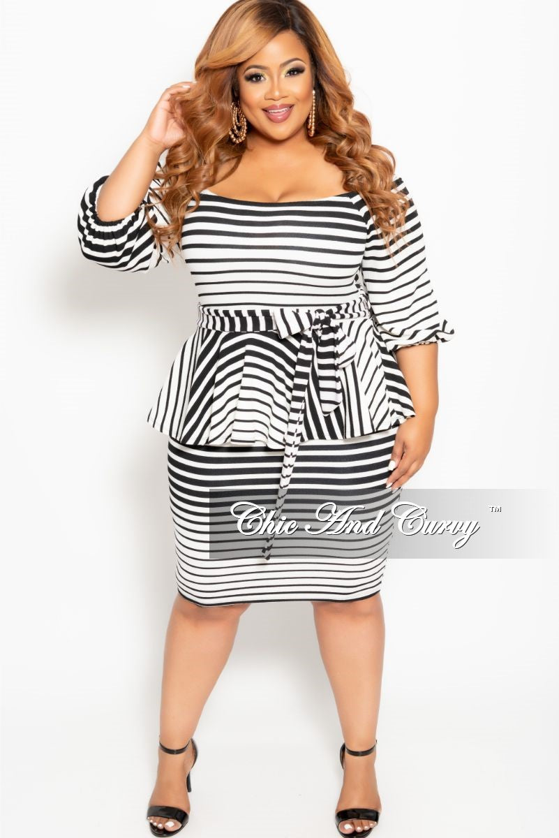 New Plus Size Peplum BodyCon Dress with Attached Tie in Black and White Striped Design Print