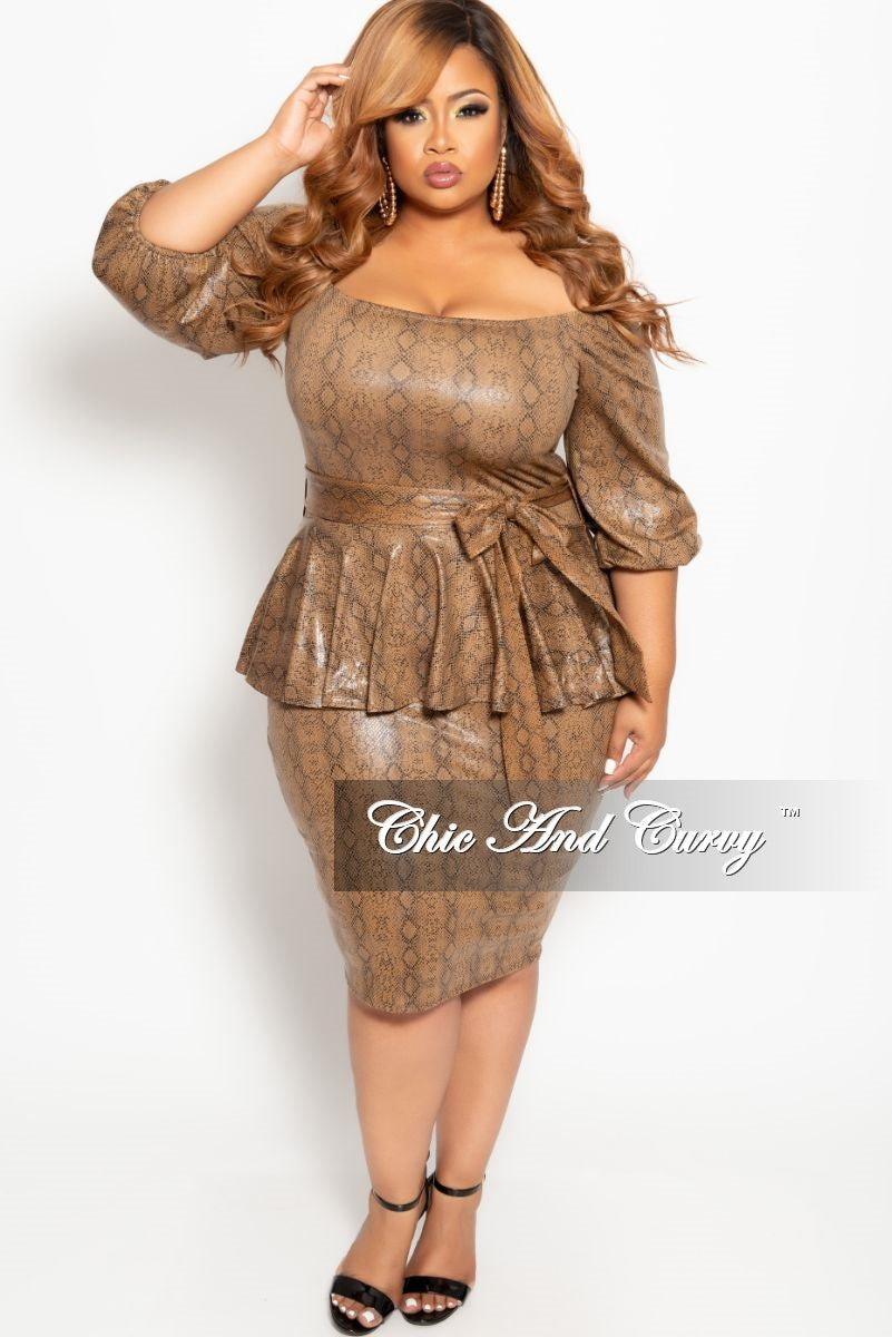 Final Sale Plus Size Faux Leather Off the Shoulder Peplum BodyCon Dress with Attached Tie in Brown Snake Skin Print