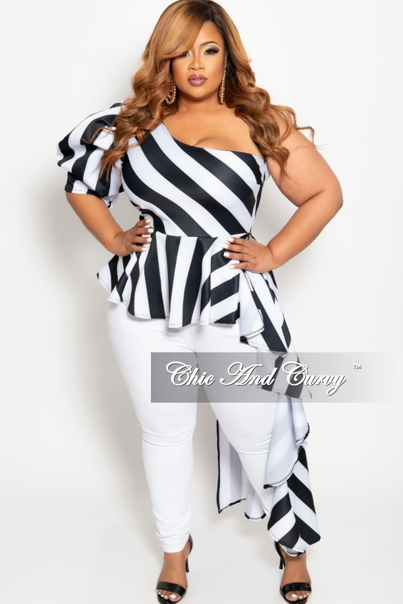 Final Sale Plus Size One Sided Asymmetrical Top in Black and White Stripe Print
