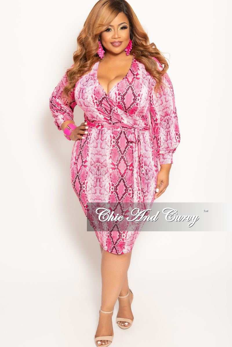 New Plus Size Long Sleeve Faux Wrap BodyCon Dress with Attached Tie in Pink Snake Skin Print