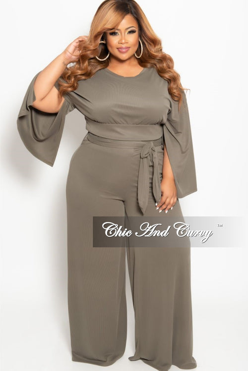 Final Sale Plus Size 2-Piece Slit Sleeves Top and Pants with Tie Set in Olive
