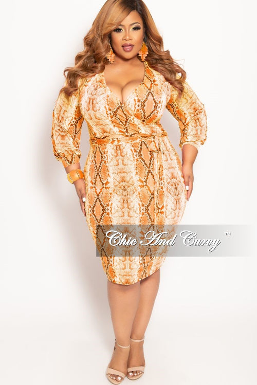 b12d80d4cfb0 New Plus Size Long Sleeve Faux Wrap BodyCon Dress with Attached Tie in  Orange Snake Skin
