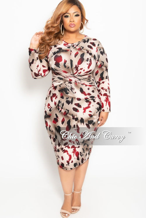 473c9d376d4e New Plus Size Long Sleeve Twisted Front BodyCon Dress in Burgundy Leopard  Print