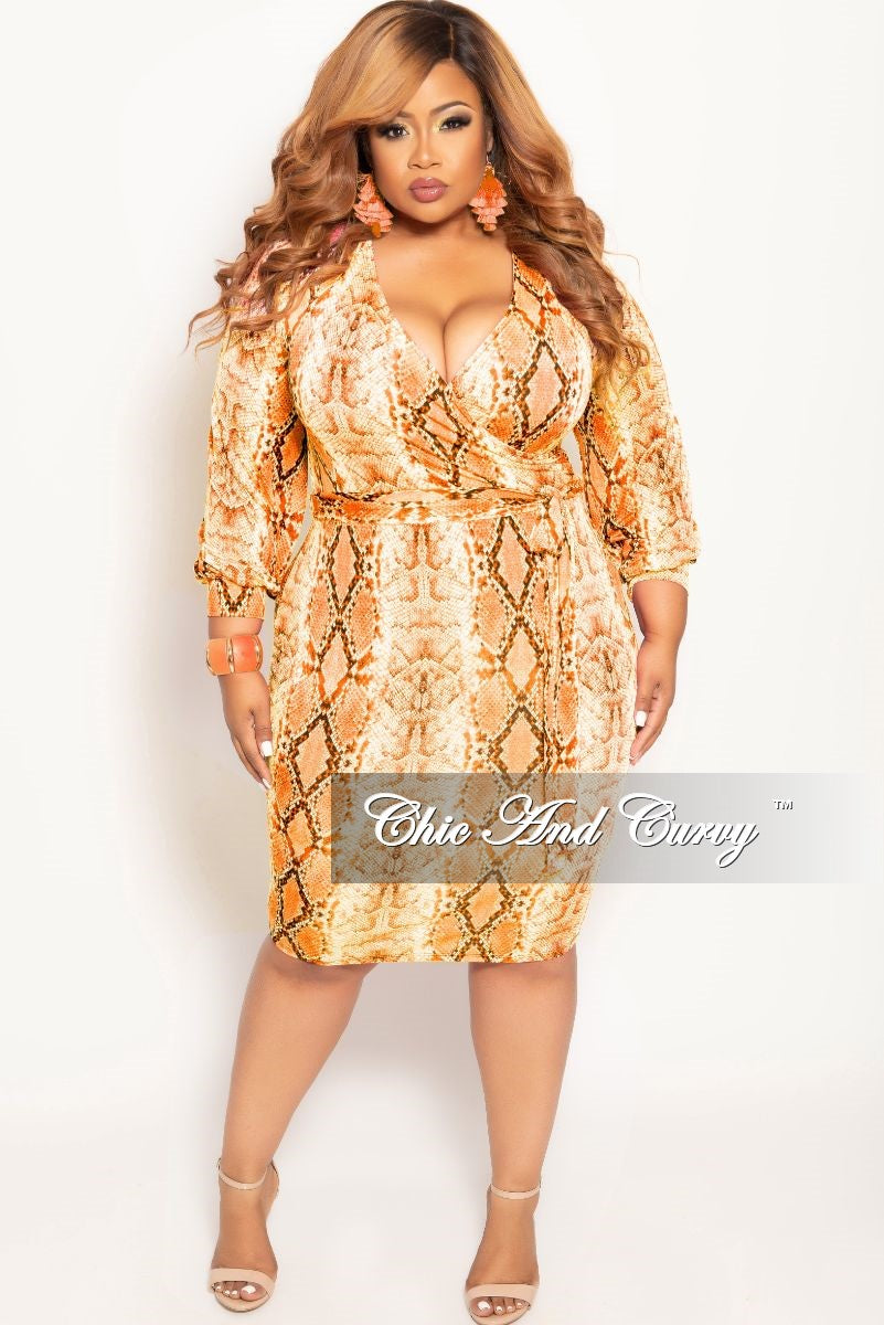 New Plus Size Long Sleeve Faux Wrap BodyCon Dress with Attached Tie in Orange Snake Skin Print