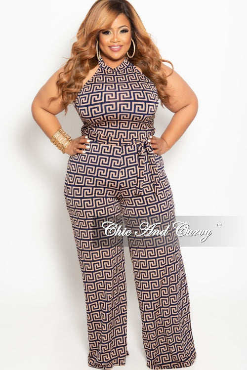 36f4882ff4e New Plus Size Mock Neck Sleeveless Jumpsuit in Navy and Brown Maze Print