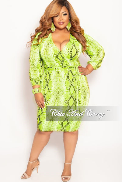 New Plus Size Long Sleeve Faux Wrap Bodycon Dress With