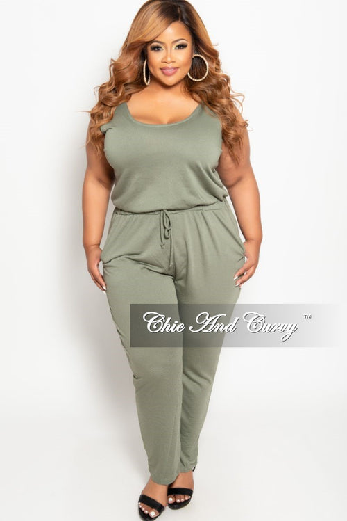 Final Sale Plus Size Tank Jumpsuit with Attached Drawstring in Olive