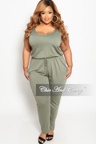 New Plus Size Off the Shoulder Jumpsuit with Attached Tie in Green Floral Print