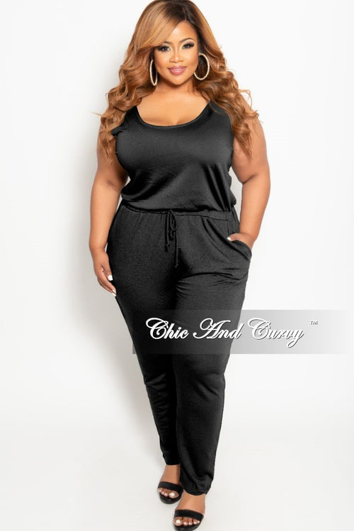 New Plus Size Tank Jumpsuit with Attached Drawstring in Black