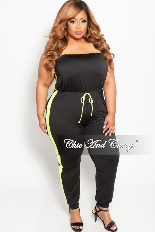 b3b146142f9 New Plus Size Strapless Jumpsuits in Black with Neon Green Trim