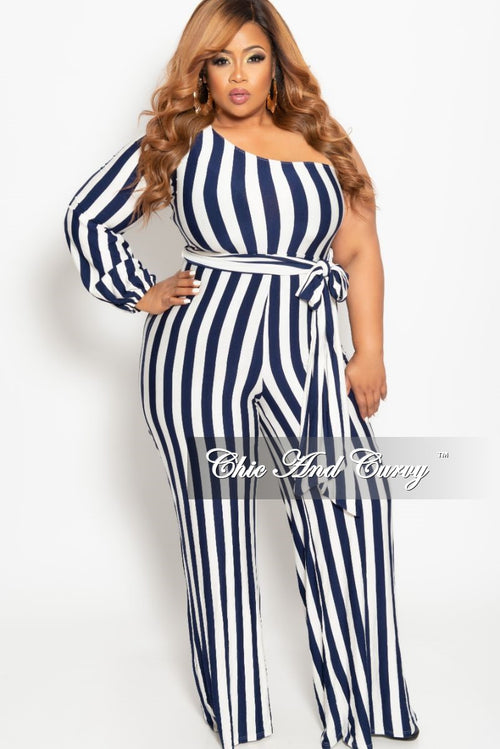 eb56e343a2 Final Sale Plus Size One Sided Jumpsuit with Attached Tie in Navy and White  Stripe Print