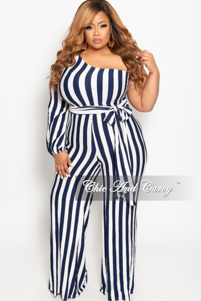 Final Sale Plus Size One Sided Jumpsuit with Attached Tie in Navy and White Stripe Print