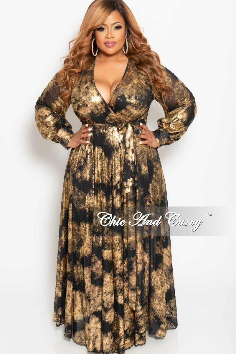 c2786f0230e Final Sale Plus Size Mesh Faux Wrap Long Dress in Black and Gold Foil –  Chic And Curvy