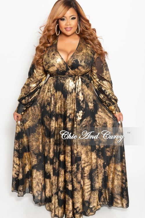 Final Sale Plus Size Mesh Faux Wrap Long Dress in Black and Gold Foil Design Print