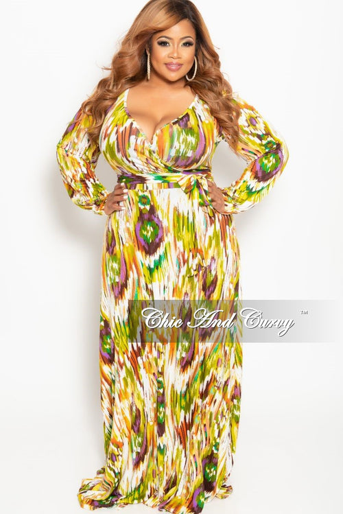 bd69ff6c086a New Plus Size Long Sleeve Faux Wrap Dress in Olive Multi Color Print