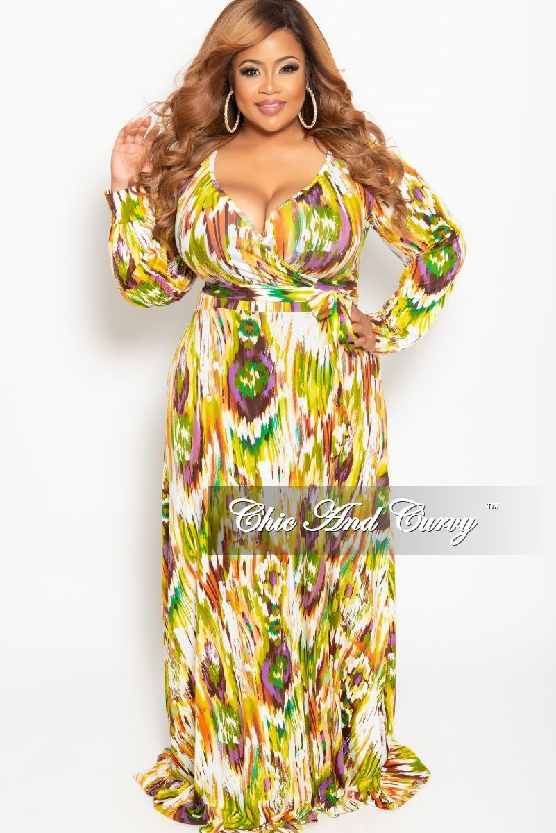 New Plus Size Long Sleeve Faux Wrap Dress in Olive Multi Color Print