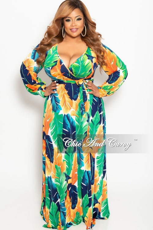 New Plus Size Long Sleeve Faux Wrap Dress in Green Multi Color Leaf Print