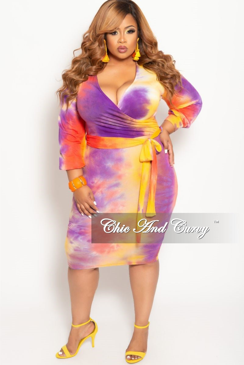 New Plus Size Long Sleeve Faux Wrap BodyCon Dress with Attached Tie in Purple Multi Color Dye Tie
