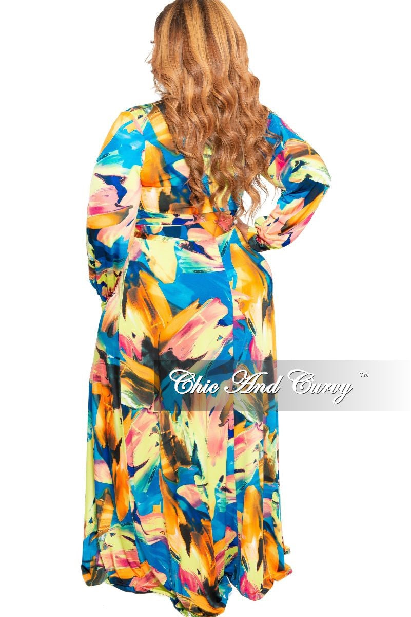 Final Sale Plus Size Long Sleeve Faux Wrap Long Dress with Bottom Slit in Turquoise and Green Multi Color Print