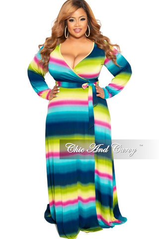 c60115d7c22 New Plus Size Long Sleeve Faux Wrap Long Dress with Bottom Slit in  Turquoise Green Navy and Pink Design Print.   75.00. Final Sale Plus Size  Pearl Beaded ...