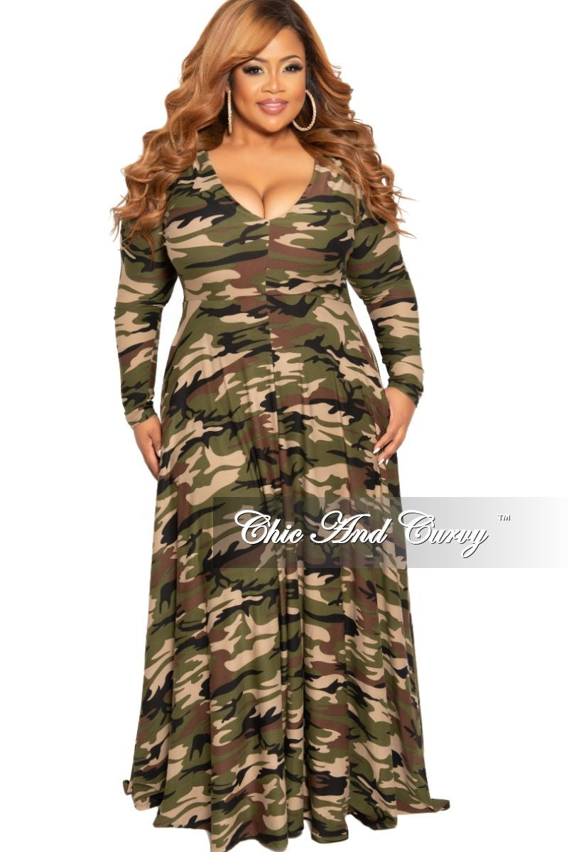 New Plus Size Long Sleeve Gown with V-Neck in Light Camouflage Print