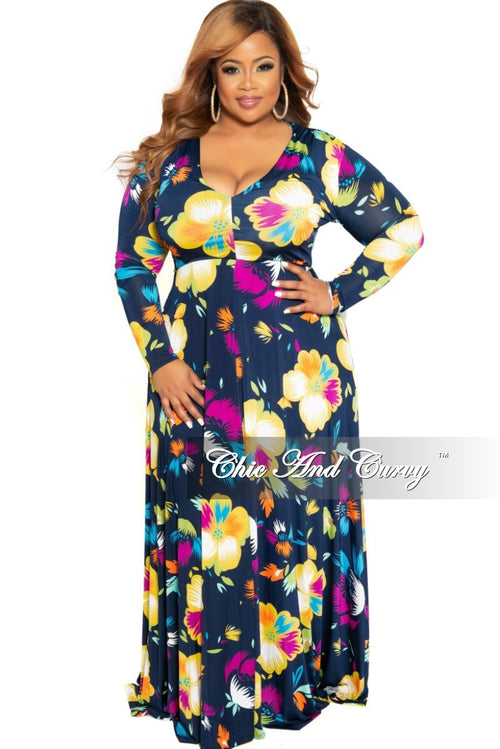 New Plus Size Long Sleeve V-Neck Maxi in Navy Multi Color Floral Print