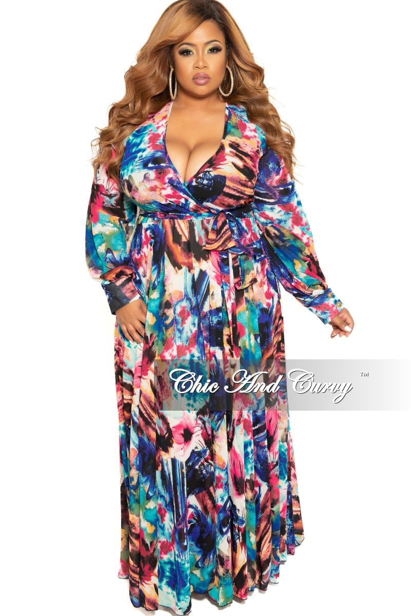 Final Sale Plus Size Faux Wrap Chiffon Dress in Purple Multi Color Floral Print