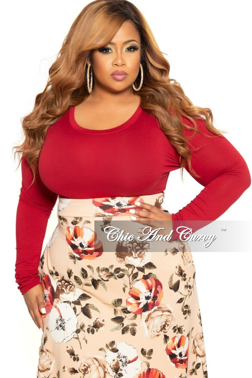 Final Sale Plus Size Long Sleeve Slim Fit Crop Top in Burgundy