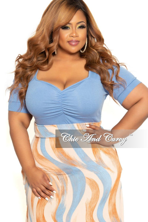 Final Sale Plus Size Short Sleeve Top in Blue
